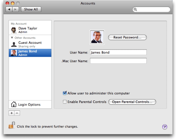 Mac OS X: System Preferences: Accounts: New: James Bond, 007