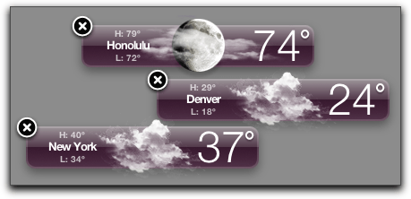Mac OS X: Dashboard: Weather Widgets: X shown