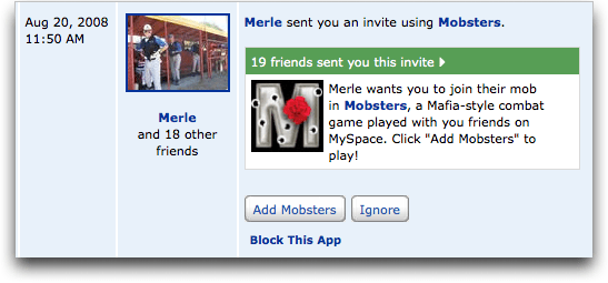 myspace app invite mobsters