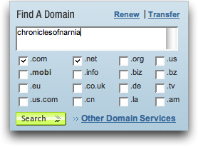 Network Solutions: Find Domain: Chronicles of Narnia
