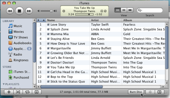 itunes burn disc playlist