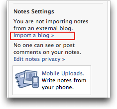 facebook notes settings (facebook blog rss)