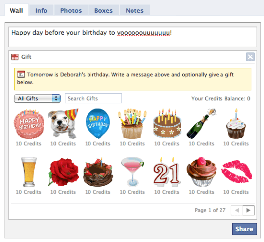 facebook wall birthday gifts