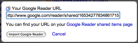 friendfeed profile services google reader url