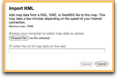 google maps import kml data file