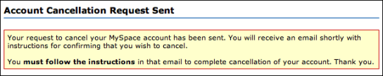myspace account cancellation request sent
