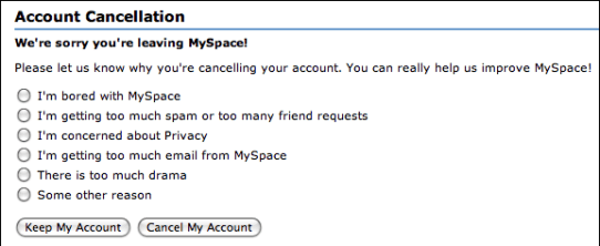 myspace account cancellation