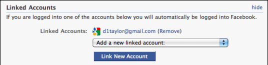 facebook my account settings linked accounts gmail