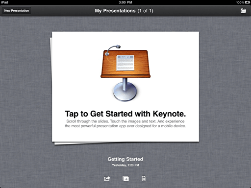 ipad keynote getting started