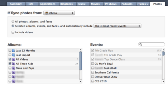 itunes iphoto photos albums events