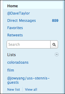 twitter lists home view