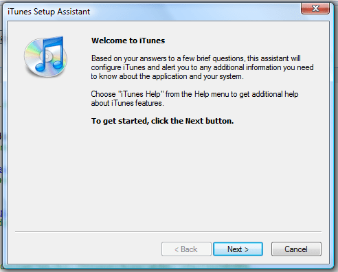 windows vista itunes setup assistant 1