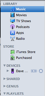 mac itunes left side menu