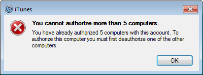 win7 itunes too many store authorizations 4