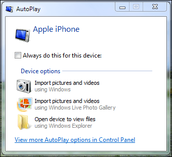windows 7 iphone pictures import default 4