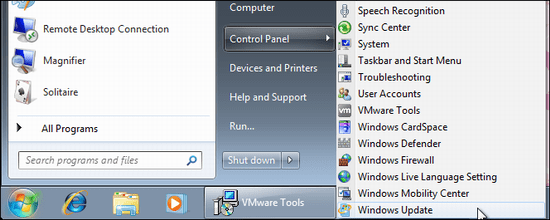 windows7 control panel windows update