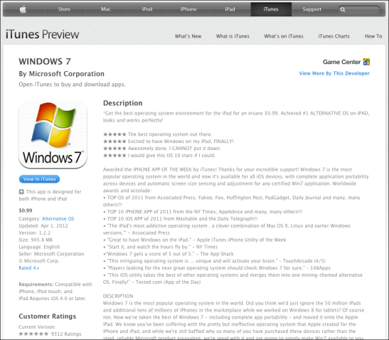 Windows 7 for iPad and iPhone