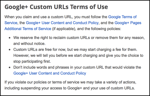 google plus custom url terms of service
