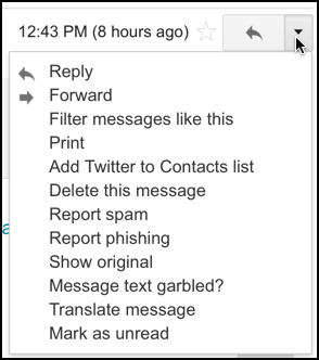 Gmail message reply menu