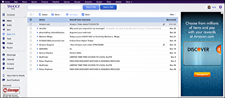 yahoo mail, default theme appearance