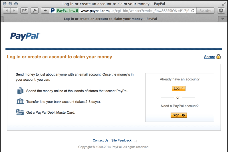 log in to PayPal screen