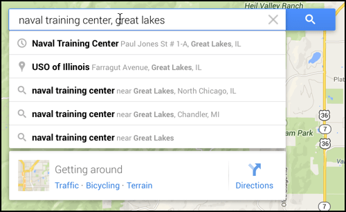 google maps finds locations - naval training center, chicago / great lakes
