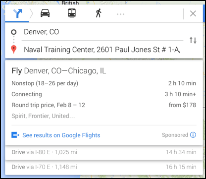 google flights shows airfare options, denver to chicago