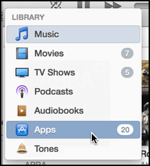 categories menu in iTunes 11