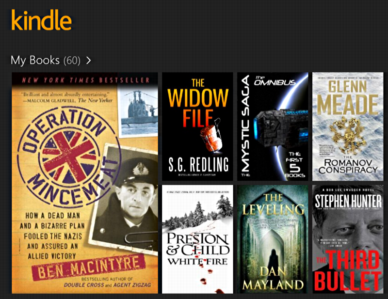ebook display in win8 kindle app