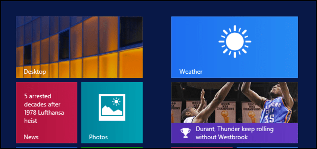 microsoft windows 8 start screen with static weather tile