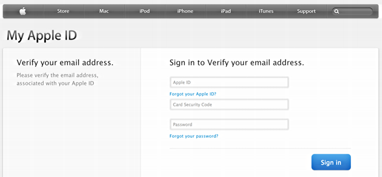 log in to verify your apple id