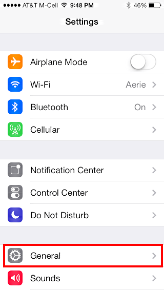 iOS 7 iphone settings General