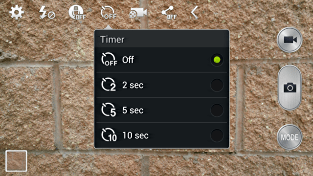 android galaxy mega camera timer options
