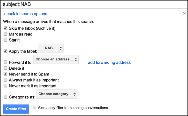 configured gmail email message filter