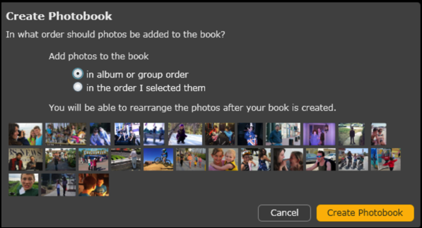 who orders the photos in the book?