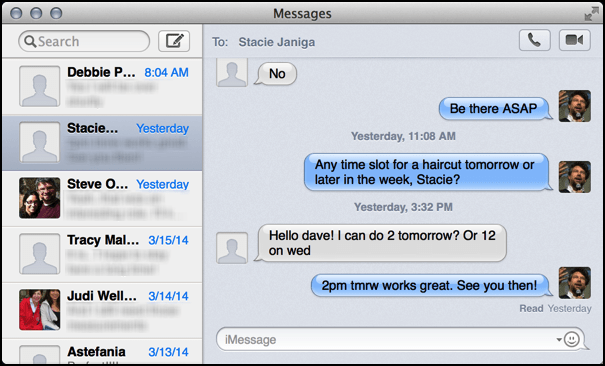 mac os x messages imessage main window