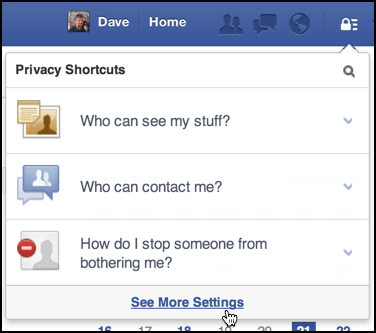 facebook privacy shortcuts menu