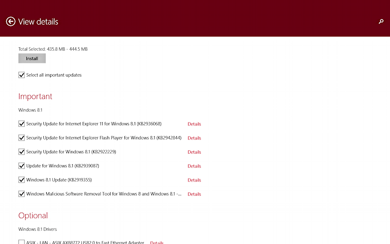 windows 8.1 system updates available to install