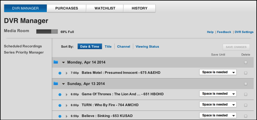 program listings on comcast dvr