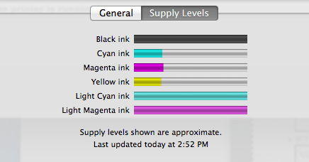color printer ink levels status