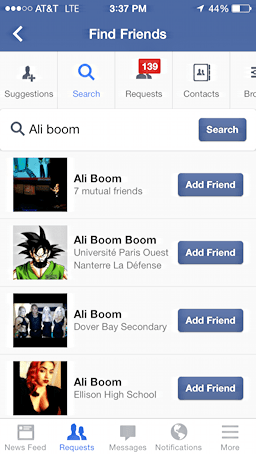 search results for a friend search on the facebooks