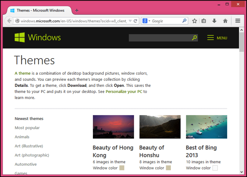 themes available for free download from microsoft.com