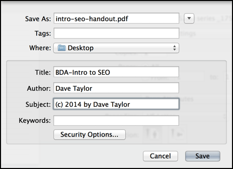 specify a copyright in your pdf output, mac os x
