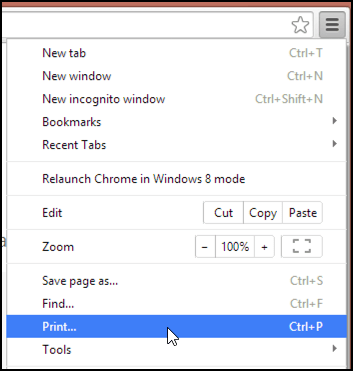 Find the print option in Google Chrome