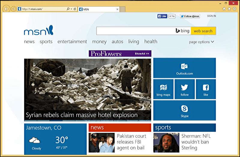 MSN home page in Internet Explorer, Win8.1