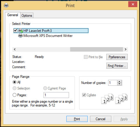 print options in internet explorer