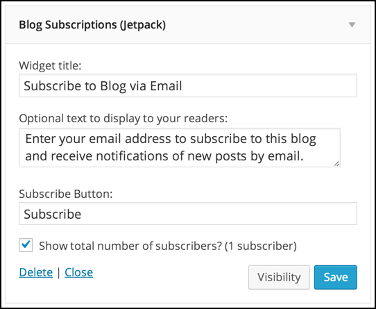 default email subscription wp settings