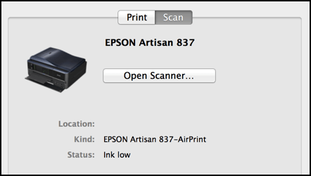 scanner options, mac os x mavericks, epson artisan 837 scanner/printer/all-in-one