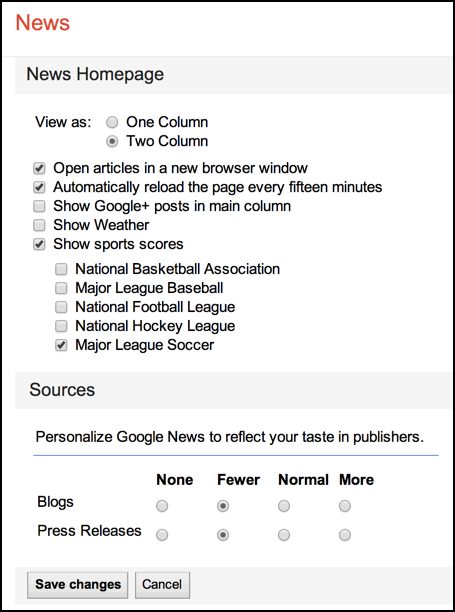 customize the internal layout settings for gnews