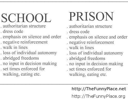 Funny Difference Between School And Prison